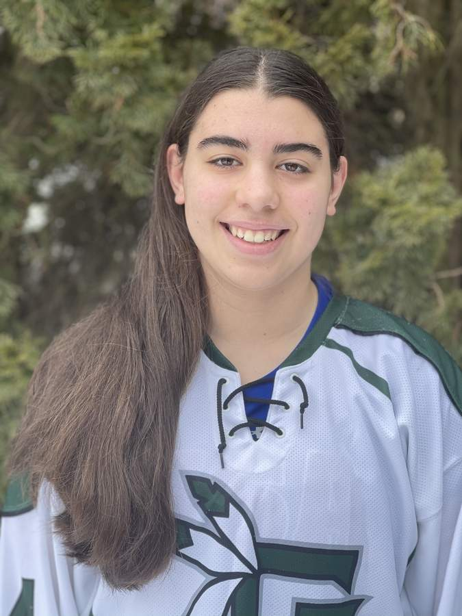 Sofia Cuozzo is starting at right wing for the Guilford girls' ice hockey team as a freshman and has already netted 11 goals on the season. Photo courtesy of Sofia Cuozzo