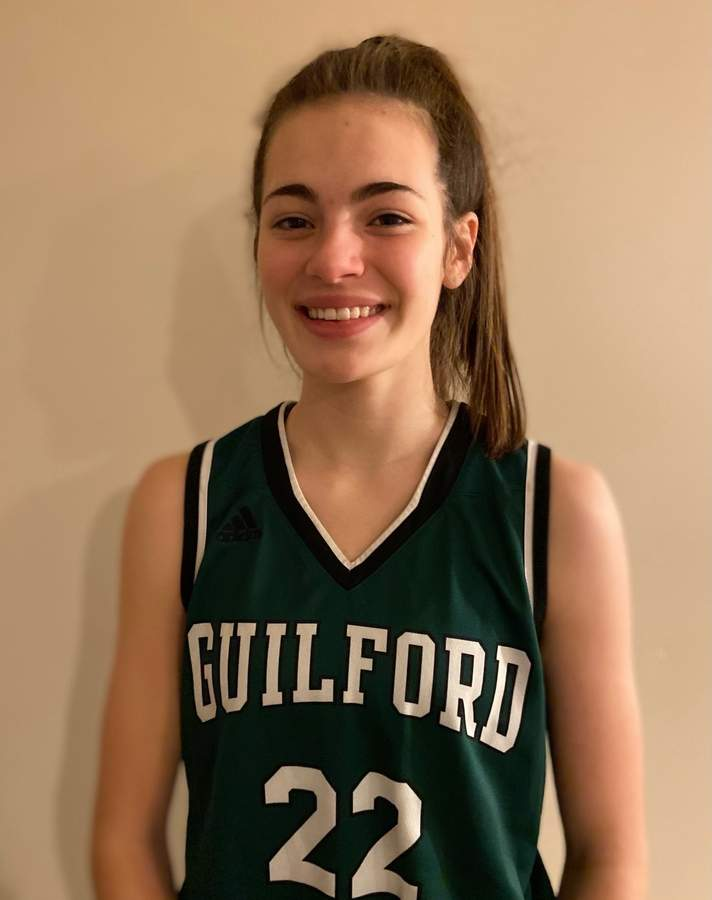 Faith O'Donnell is scoring an average of 10.3 points per game while leading the Guilford girls' basketball team as a junior captain this winter. Photo courtesy of Faith O'Donnell