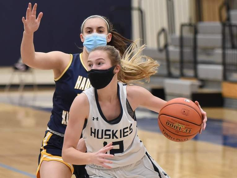 Senior captain Catie Donadio and the Morgan girls' basketball squad made their way deep into the Shoreline Conference Tournament before losing to the top-seed, East Hampton, in the tourney final on March 26. File photo by Kelley Fryer/Harbor News