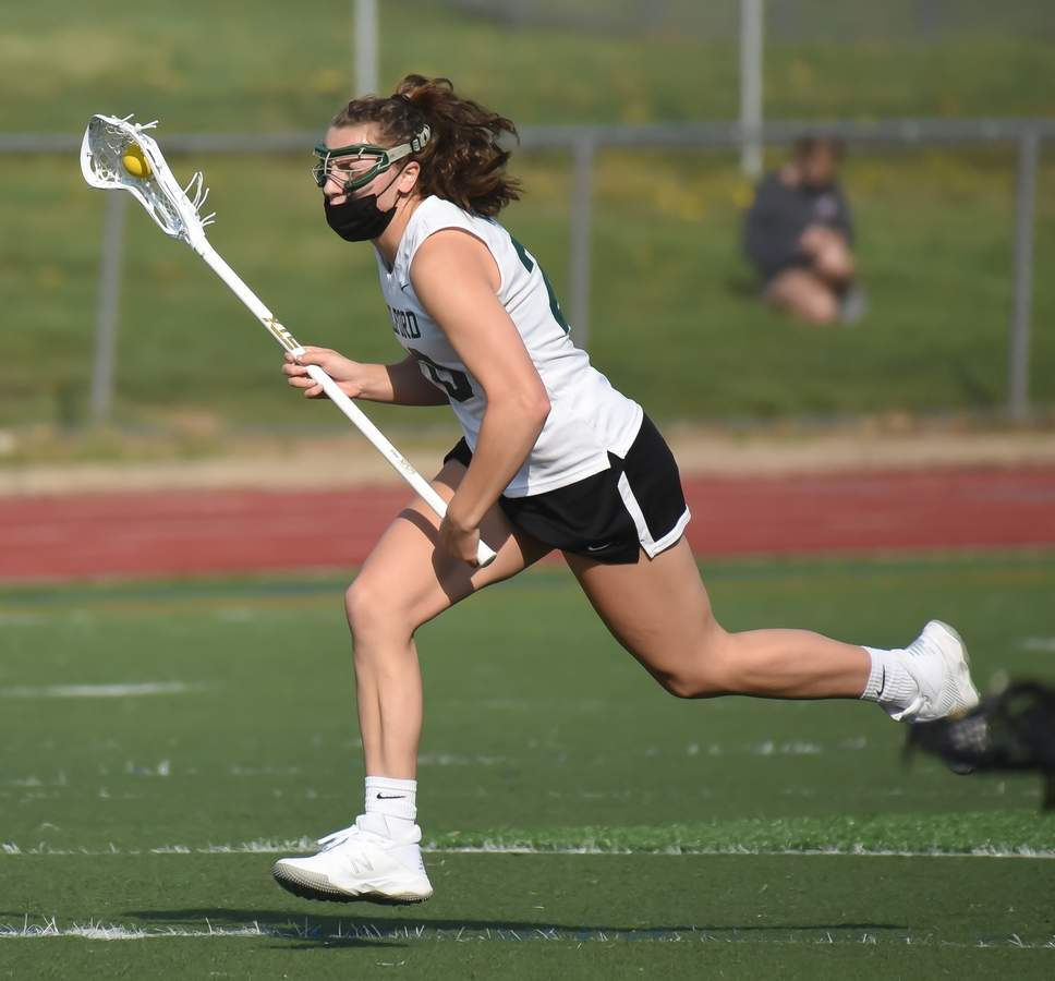 Guilford Girls Lacrosse beat Cheshire 17-10 at home. Maddie Epke  (20) Photo by Kelley Fryer/The Courier