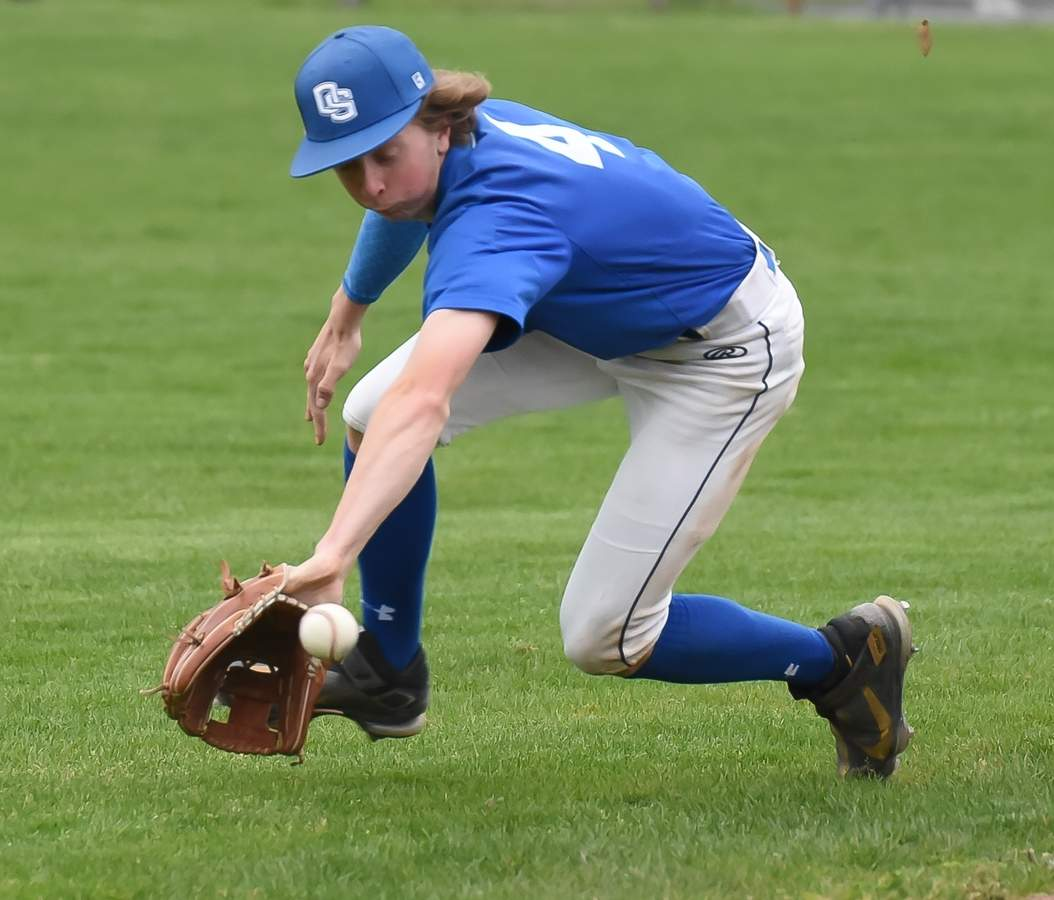 Old Saybrook Boys Baseball lost 0-2 to Haddam-Killingworth at home. Noah Hester (4)   Photo by Kelley Fryer/Harbor News
