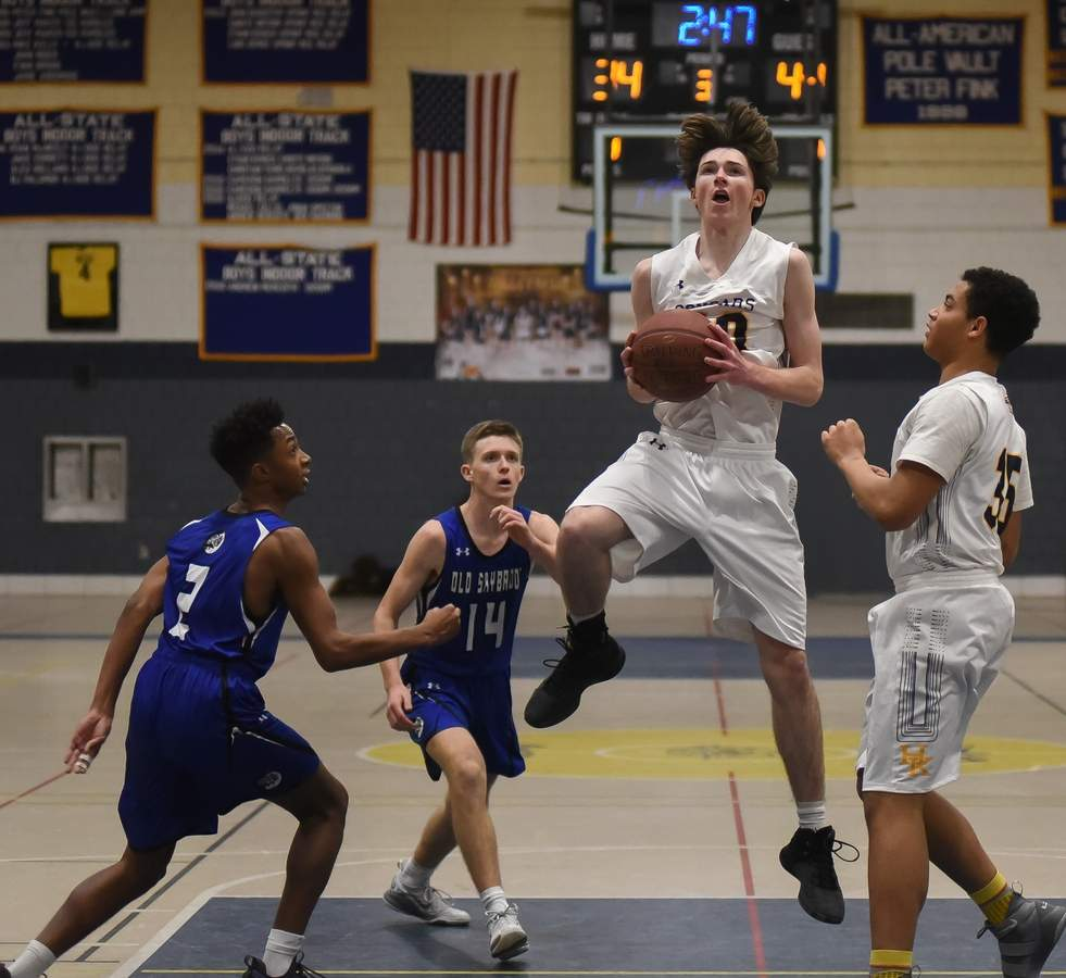 Haddam Killingworth lost 59-69 to Old Saybrook at home. Jimmy McGoey (40), Tobey Callender  (35)  Photo by Kelley Fryer/The Source
