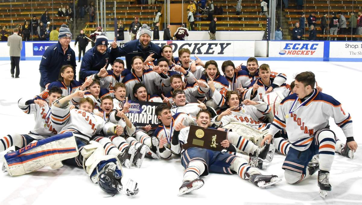 Lyman Hall H-K Coginchaug Hockey beat Sheehan 6-2 to take the CIAC Division III Championship at Ingalls RInk.   Photo by Kelley Fryer/The Source