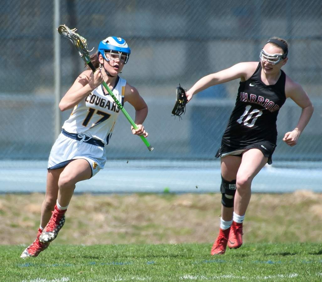 Haddam-Killingworth girls lacrosse lost 17-23 to Valley Regional at home. Morgan Madore  (17) Photo by Kelley Fryer/The Source