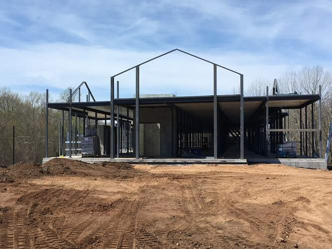 The construction going on at Exit 66 on Spencer Plains Road will be a self-storage facility, set to open this fall. Photo by Aviva Luria/Harbor News
