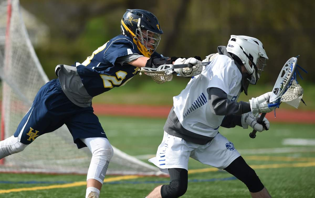 Haddam-Killingworth boys lacrosse beat Old Saybrook 17-3 at Old Saybrook High School. Devin Civiello (28)  Photo by Kelley Fryer/The Source