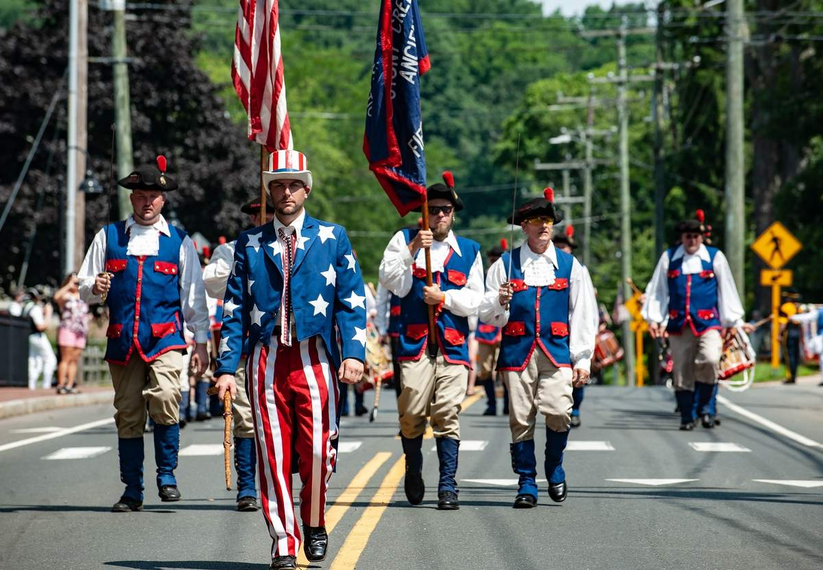 The 2019 Deep River Ancient Muster was held June 19th and 20th. A parade of 47 fife and drum corps stepped down Main street Saturday commencing at Devitt Field. The muster is one of the oldest and largest gathering of fife and drum participants.   Patrick Choronzy leads the Stony Creek Ancient Fife and Drum Corps.   Photo by Susan Lambert/The Courier