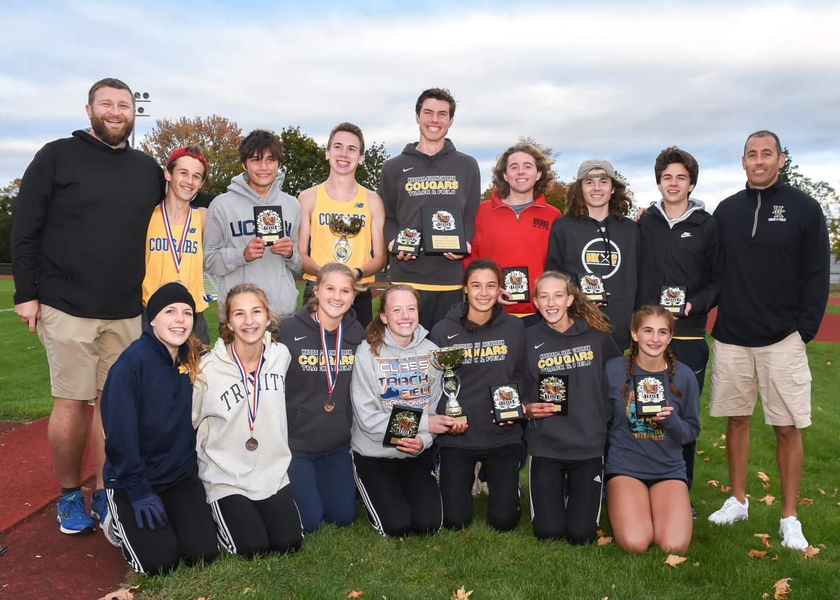 2019 Shoreline Conference Cross Country Champions Haddam-Killingworth Boys & Girls.  Photo by Kelley Fryer/The Source