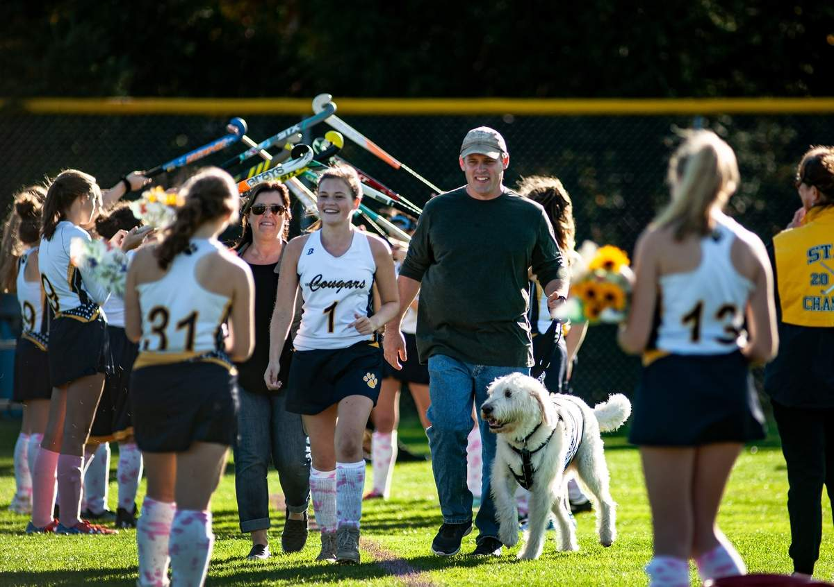 Haddam-Killingworth hosted Valley Region Wednesday October 23rd, 2019  for a field hockey match.    HK honored their seniors, 31 Lauren Burley.       Photo by Susan Lambert/The Source