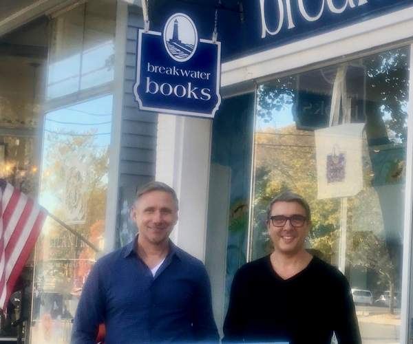 Richard Parent, left, and Paul Listro are the new owners of Breakwater Books in downtown Guilford. Photo by Jesse Williams/The Courier