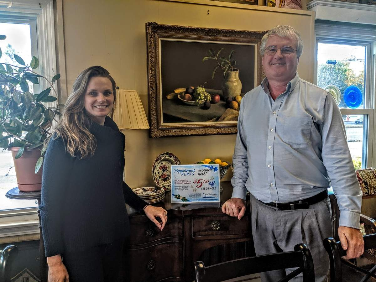 Amanda Boehm and Paul Russ, owners of Vintage Home Décor in Old Saybrook, are among the more than 30 businesses ready to accept Peppermint Perks. Photo courtesy of the Old Saybrook Chamber of Commerce
