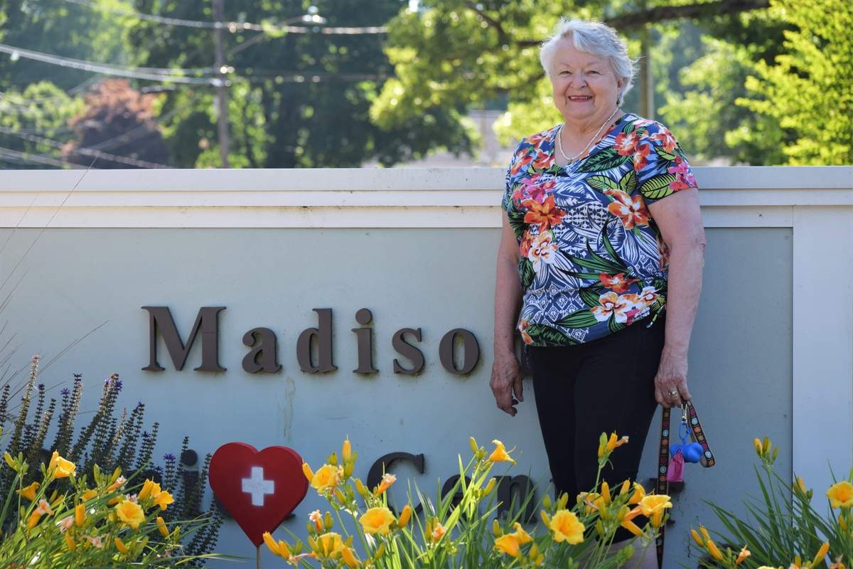 A staffer at the Madison Senior Center, Cynthia Barker has made an impact by spearheading programs and groups such as Masks for Madison, a community effort that sewed and gave out some 1,500 face masks; Nimble Thimble, a group of needlepoint crafters; and The Girls, a small circle of women near or well into their 90s who now share a friendship.  Photo by Maria Caulfield