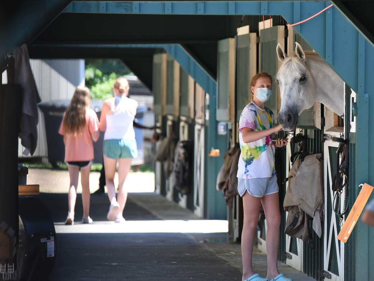 Claddagh Ridge Equestrian Center held an open house in Clinton Saturday from 12-4pm with food trucks, tours, $15 pony rides. Alana Martinez greets Icy London one of the horses in the stable. Photo by Kelley Fryer/Harbor News