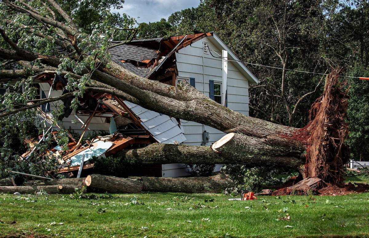 Friday August 28th, 2020:   A home on Pleasant Drive sustained severe damage from Thursday's storm.   Photo by Susan Lambert/The Courier