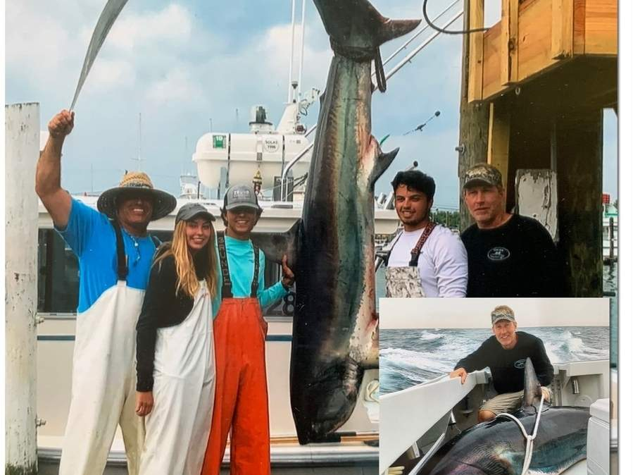 Clinton resident Captain Todd Davenport (bottom right) of the Emily Rose and crew—John Stevens, Charlotte Davenport, Tyler Stevens, and Jake Stevens—-with their tournament-winning thresher shark weighing 436 pounds. Photo illustration courtesy of Captain Morgan
