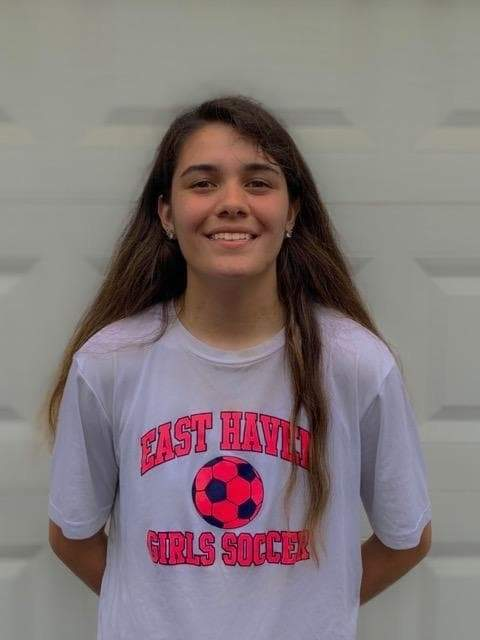Senior captain Angelina Munoz has been the starting goalkeeper for the East Haven girls' soccer squad since her freshman year of high school. She also plays for the girls' basketball team. Photo courtesy of Angelina Munoz
