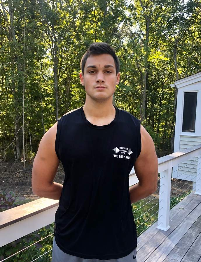 Senior Jeremy Rand became a leader in the weight room for the Valley Regional-Old Lyme football team during the offseason. Jeremy plays left guard and outside linebacker for the Warriors. Photo courtesy of Jeremy Rand