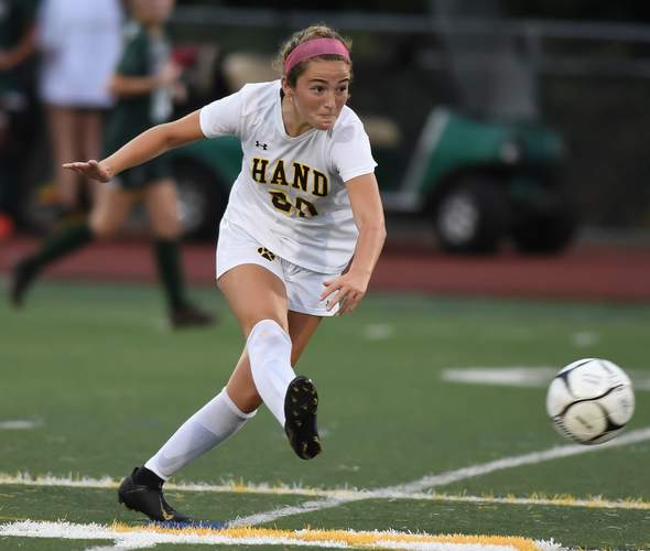 Mia Forti and the Hand girls' soccer squad have three games against both Branford and Guilford this year. File photo by Kelley Fryer/The Source