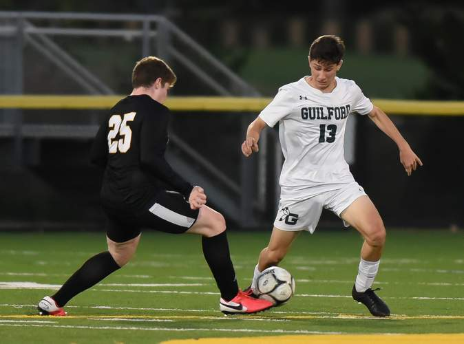 Senior Anthony Ippolito and the Guilford boys' soccer team took a defeat to Hand last week, but will get another shot at the Tigers this week. Photo by Kelley Fryer/The Courier