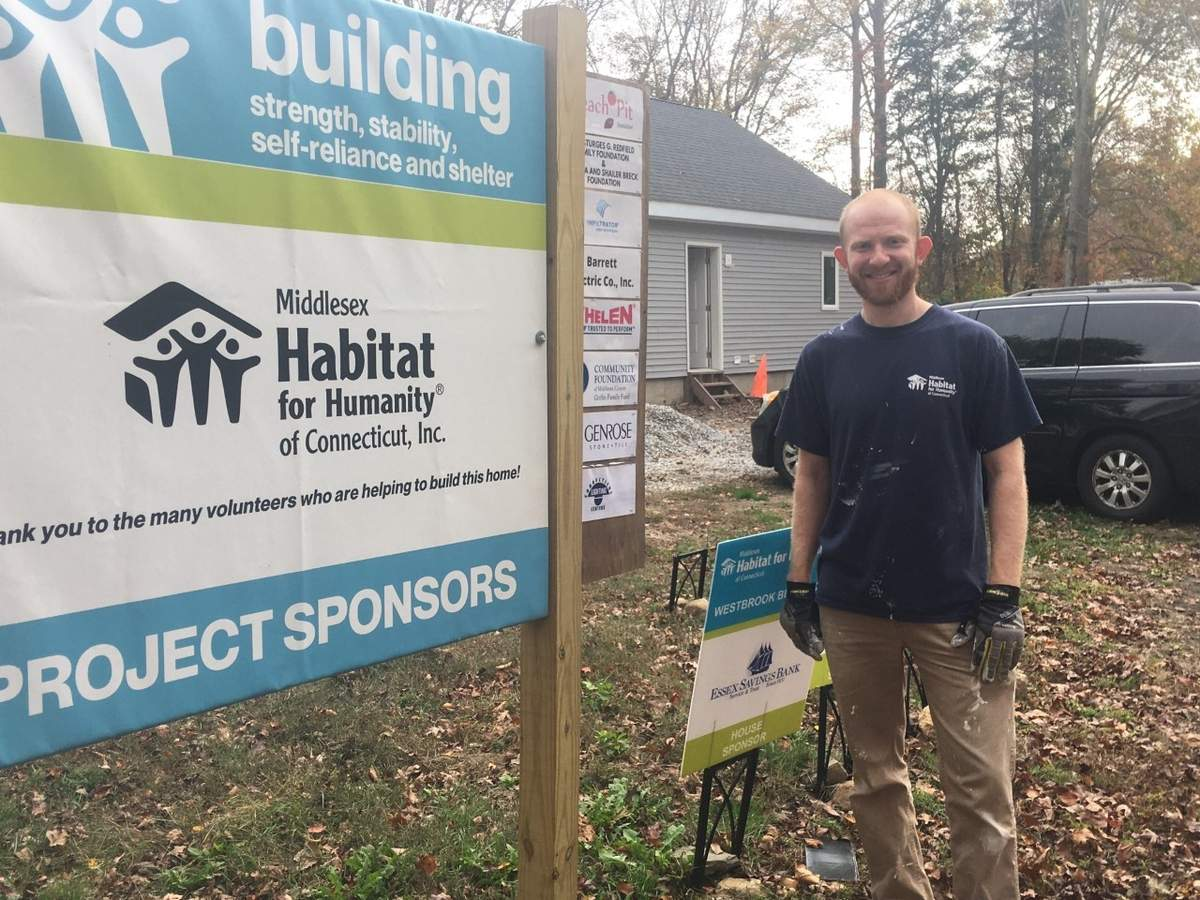 The shoreline's first build by Middlesex Habitat for Humanity is going well in Westbrook, thanks to volunteers overseen by Construction Site Manager Jonathan Good.   Photo by Aviva Luria/Harbor News