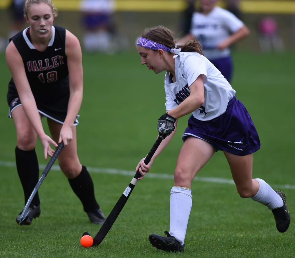 Westbrook field hockey tied Valley Regional 1-1 at home. Brooke Neri  (4) Photo by Kelley Fryer/Harbor News