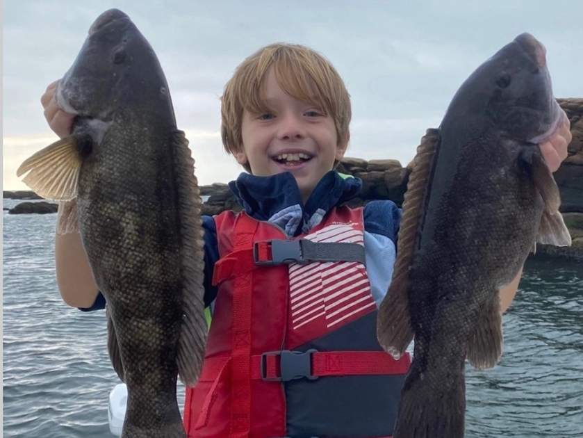 Nicholas Diaz of Madison had a great day of tautog fishing with dad Robert while wetting lines off Branford. Photo courtesy of Captain Morgan