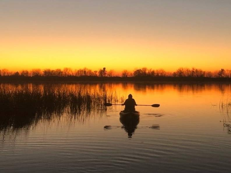 Fall has some of the most picturesque sunsets, often best observed and enjoyed after a day of fishing. Photo courtesy of Captain Morgan