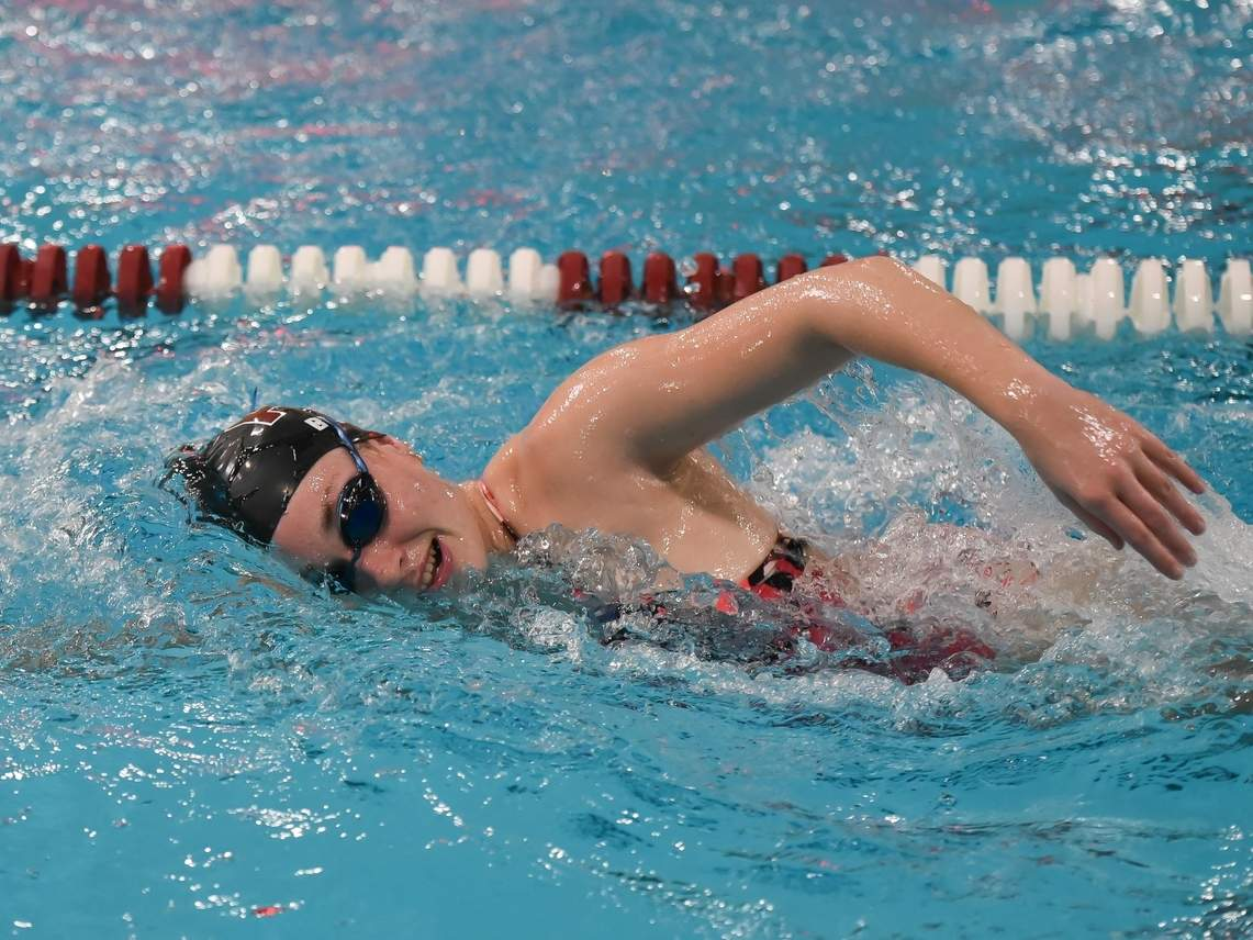 Senior captain Maddie Bergin capped off a decorated career as a North Haven swimmer by breaking five school records during the 2020 campaign. Bergin helped North Haven go 6-2 in the regular season and then take fourth place at the SCC Virtual Championship this fall. File photo by Kelley Fryer/The Courier
