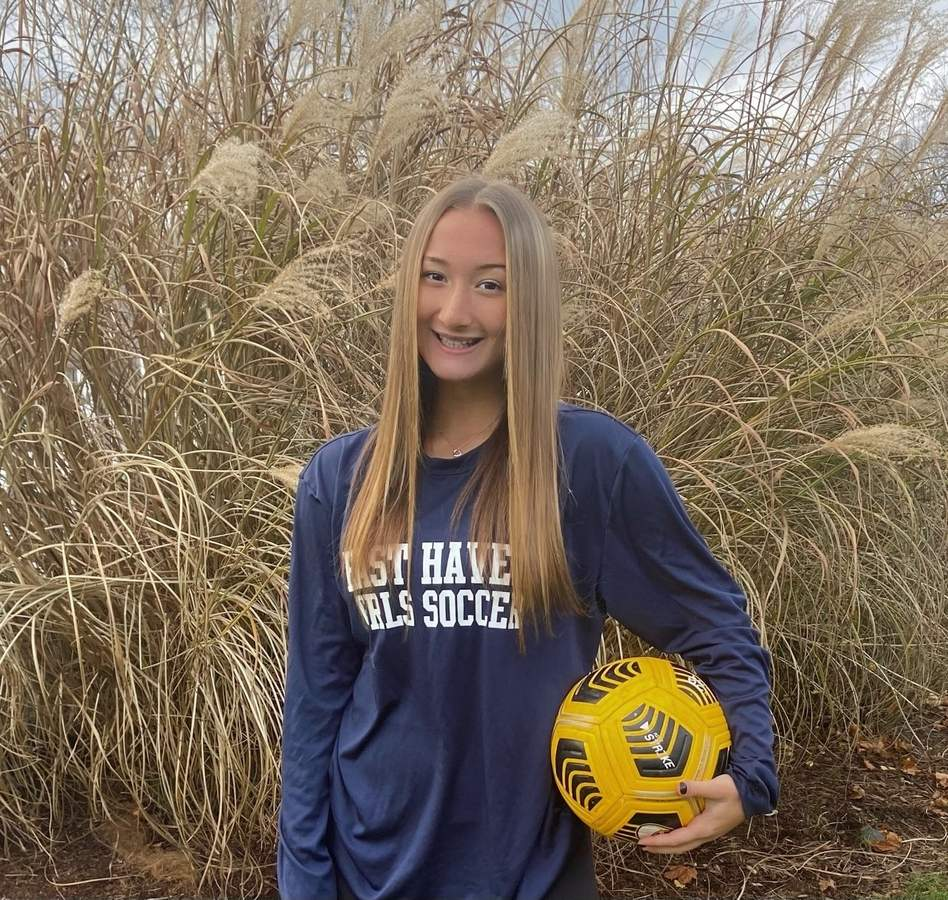 Senior captain Isabella Pilato secured a spot on the All-SCC Division B Team for her performance as a midfielder with the East Haven girls' soccer squad this fall. Isabella also played a key role in helping the Yellowjackets build themselves up into an SCC contender during the past four seasons. Photo courtesy of Bella Pilato