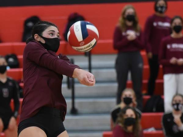 Alex Ferriouolo finished her career with the North Haven girls' volleyball team by garnering All-State and All-SCC Division B accolades, while helping North Haven advance to the championship match of the SCC Division B Tournament this fall.  File photo by Kelley Fryer/The Courier