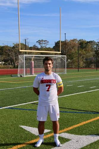 Senior captain striker Ralph Ciarleglio finished his career with Branford boys' soccer as a two-time All-Conference and All-State recipient. Photo courtesy of Ralph Ciarleglio
