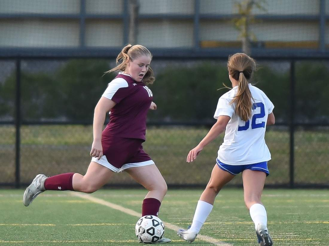 Senior captain Carly Fresher and the North Haven girls' soccer squad came across some bumps in the road this fall, but never stopped putting their best foot forward on the pitch. File photo by Kelley Fryer/The Courier