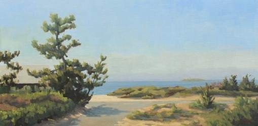 A sampling of artists' works found among those of SAT '20 Virtual Open Studios include this piece by Eileen Eder, Beach Access (Hammonnassett State Park) 10 x 20, oil on linen panel, $1,500.