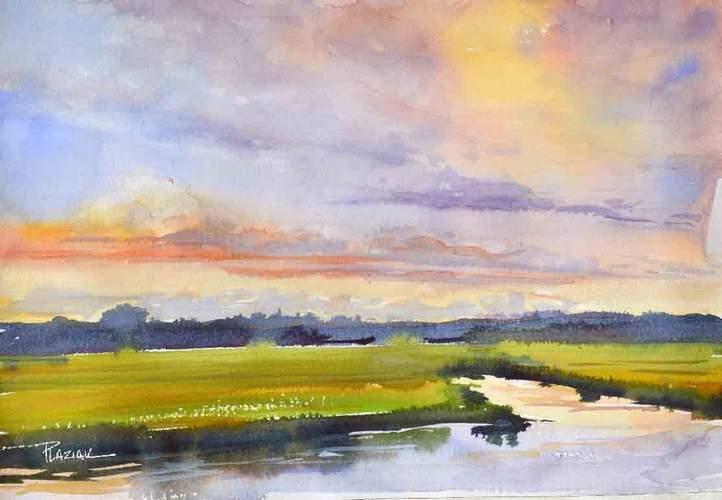 A sampling of artists' works found among those of SAT '20 Virtual Open Studios include this piece by Steve Plaziak, River Sunset, watercolor, 10 x 14, $275.
