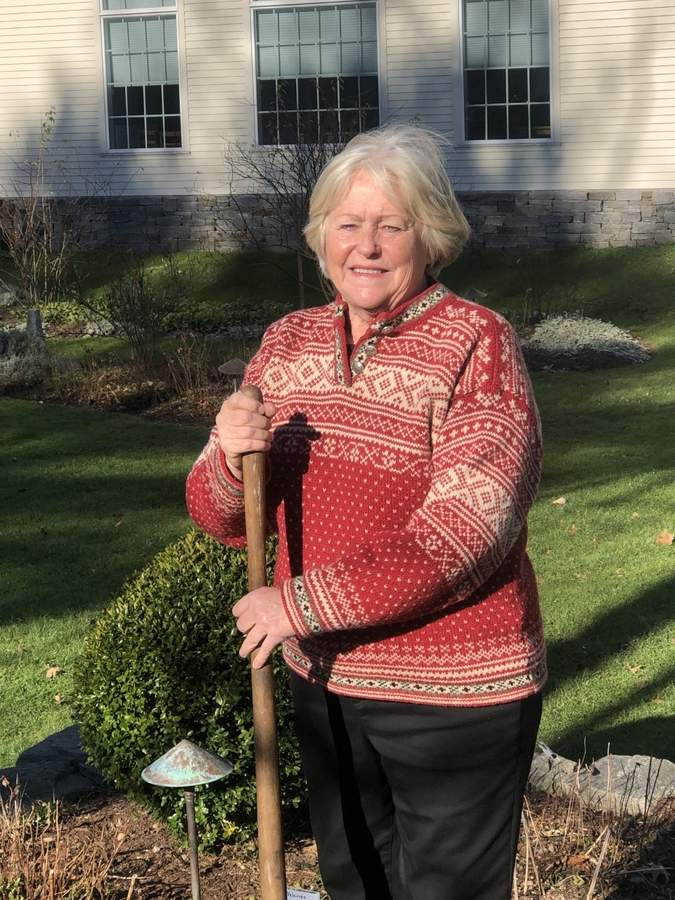 Gardener extraordinaire for the Old Saybrook Historical Society, Bonnie Penders wants to share her enthusiasm and hard-won experience with others.  Photo courtesy of Bonnie Penders