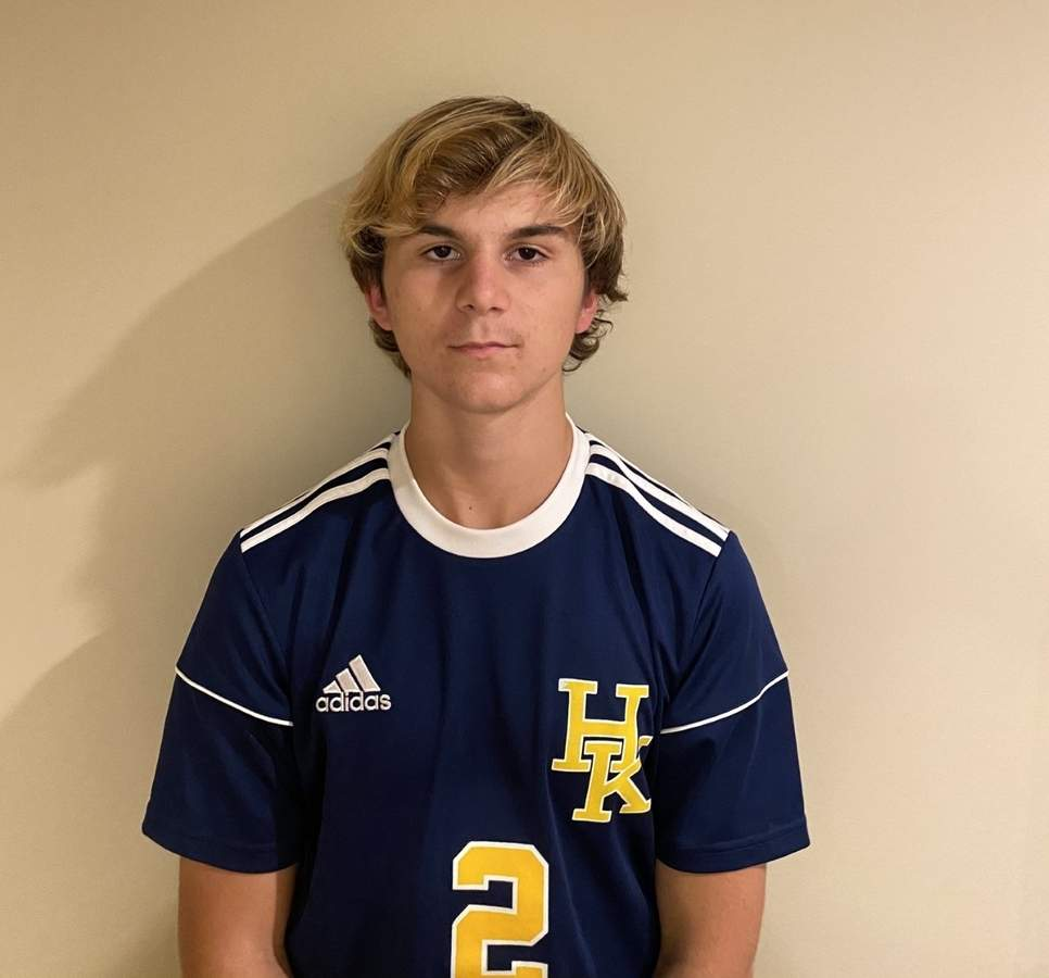 Freshman Cole Merriam netted seven goals to help the H-K boys' soccer squad enjoy a championship season in the fall of 2020. Photo courtesy of Cole Merriam