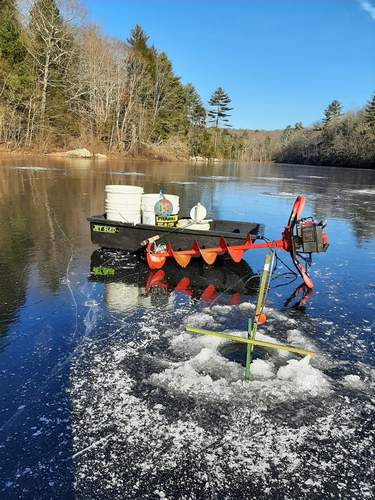 Frigid temperatures brought more ice fishing opportunities closer to the shoreline, as this one Guilford lake illustrates. Photo courtesy of B. Andes