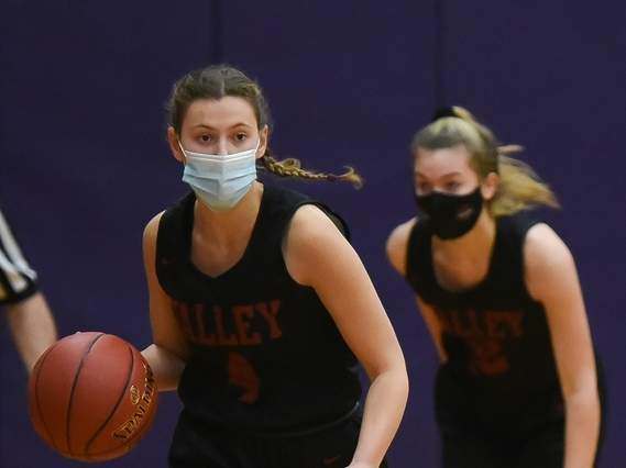 Senior captain Alena Crosby and the Valley Regional girls' basketball squad took a win and a loss last week to start the year with a 1-1 record. Crosby scored 14 points in the Warriors win over North Branford on Feb. 10. Photo by Kelley Fryer/The Courier
