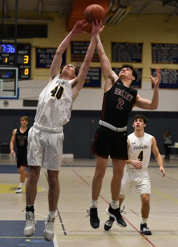 Senior captain Jimmy McGoey (No. 40) had 17 points and seven boards to lift H-K to a 61-23 victory against North Branford last week. Also pictured for the Cougars is fellow senior captain Alec Erskine (4). File photo by Kelley Fryer/The Source