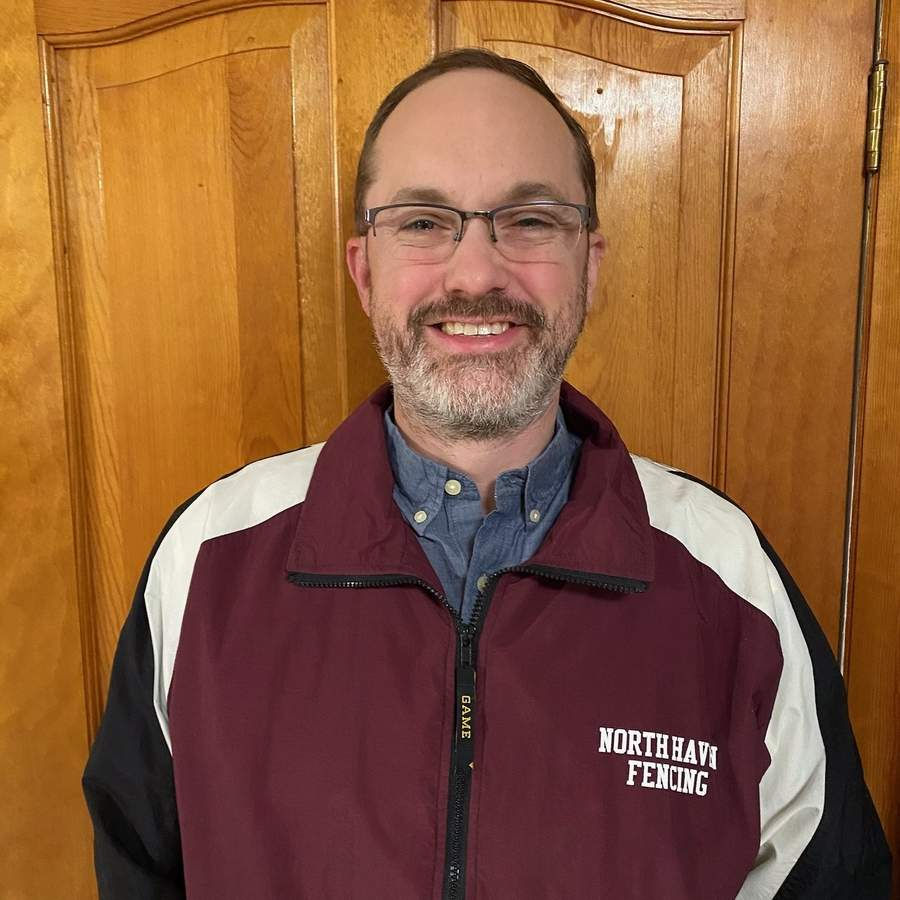 North Haven fencing alum Jim Harris is back at his old school for his second tenure as head coach of the fencing program. A Guilford resident, Jim initially served as North Haven's head coach from 2001 through 2008. Photo courtesy of Jim Harris