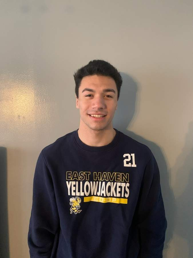 David Amatruda was honored to be named a captain for the East Haven football team and is now leading the Yellowjackets' hockey squad in that same role this winter. Photo courtesy of David Amatruda