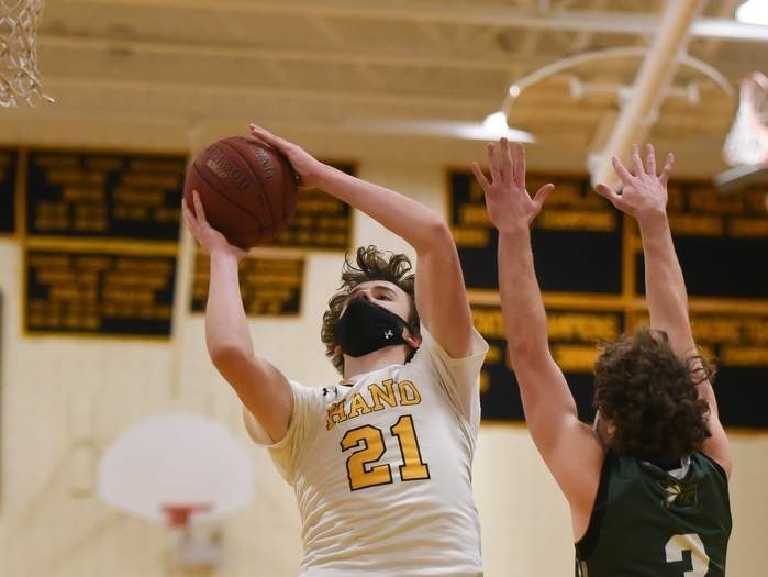 Junior Tyler Favre turned in a pair of double-digit scoring performances to help the Hand boys' basketball team gain a split of its two games last week. File photo by Kelley Fryer/The Source