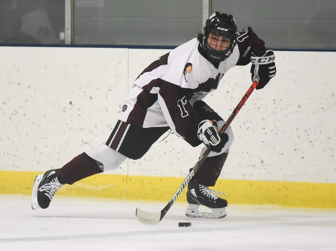 Senior Aaron Racino scored a goal to help the North Haven boys' ice hockey squad post a 3-0 shutout over Branford on Feb. 16. File photo by Kelley Fryer/The Courier