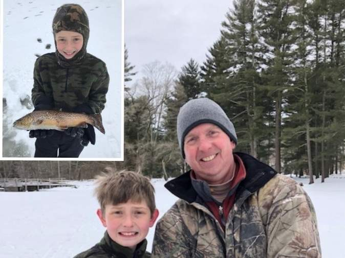 A great day of local ice fishing for the father and son team, Matt Link and Sean Link (11) of Killingworth, as they iced tiger trout to 19 inches, a 23-inch pickerel, and a 13-inch calico bass all on tip-ups. Photo courtesy of Captain Morgan