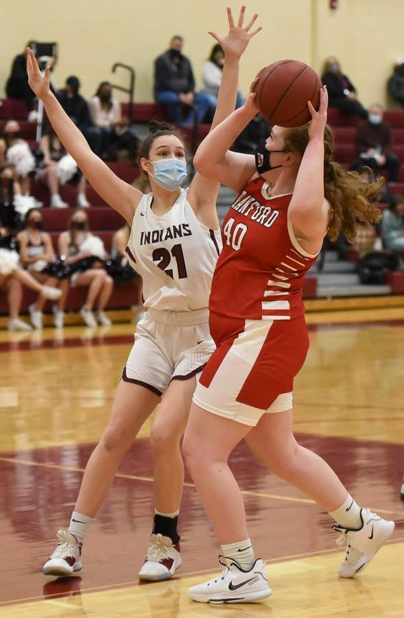 North Haven girls basketball beat Branford 49-36 at home. Emma Liedke  (21) Photo by Kelley Fryer/The Courier