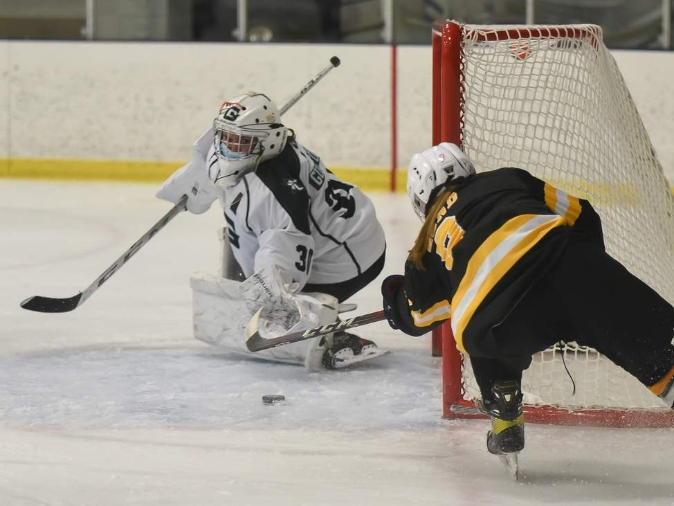 Junior goalie Julia McDonald made 11 saves to help the Guilford girls' ice hockey squad post a shutout in its lone game of the week. The Grizzlies are now 5-1 on the year. File photo by Kelley Fryer/The Courier