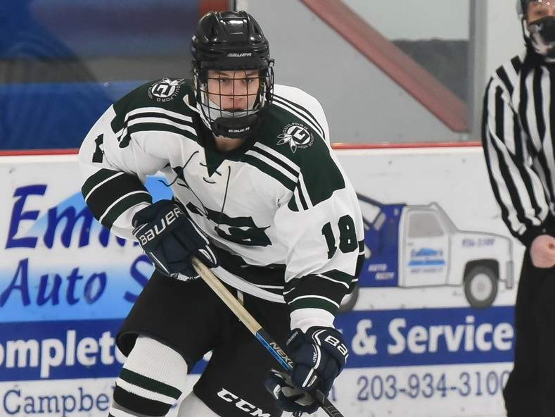 Junior Michael Torre and the Guilford boys' hockey squad played their first two games of the season last week following a three-week quarantine. The Grizzlies took a pair of defeats against Watertown-Pomperaug, losing by final scores of 10-2 and 3-1.  Photo by Kelley Fryer/The Courier
