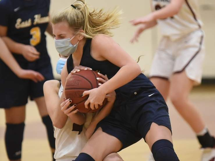 Junior Kate Pycela came through with 13 points when the East Haven girls' basketball team claimed a 60-53 overtime victory against Guilford on March 5. File photo by Kelley Fryer/The Courier
