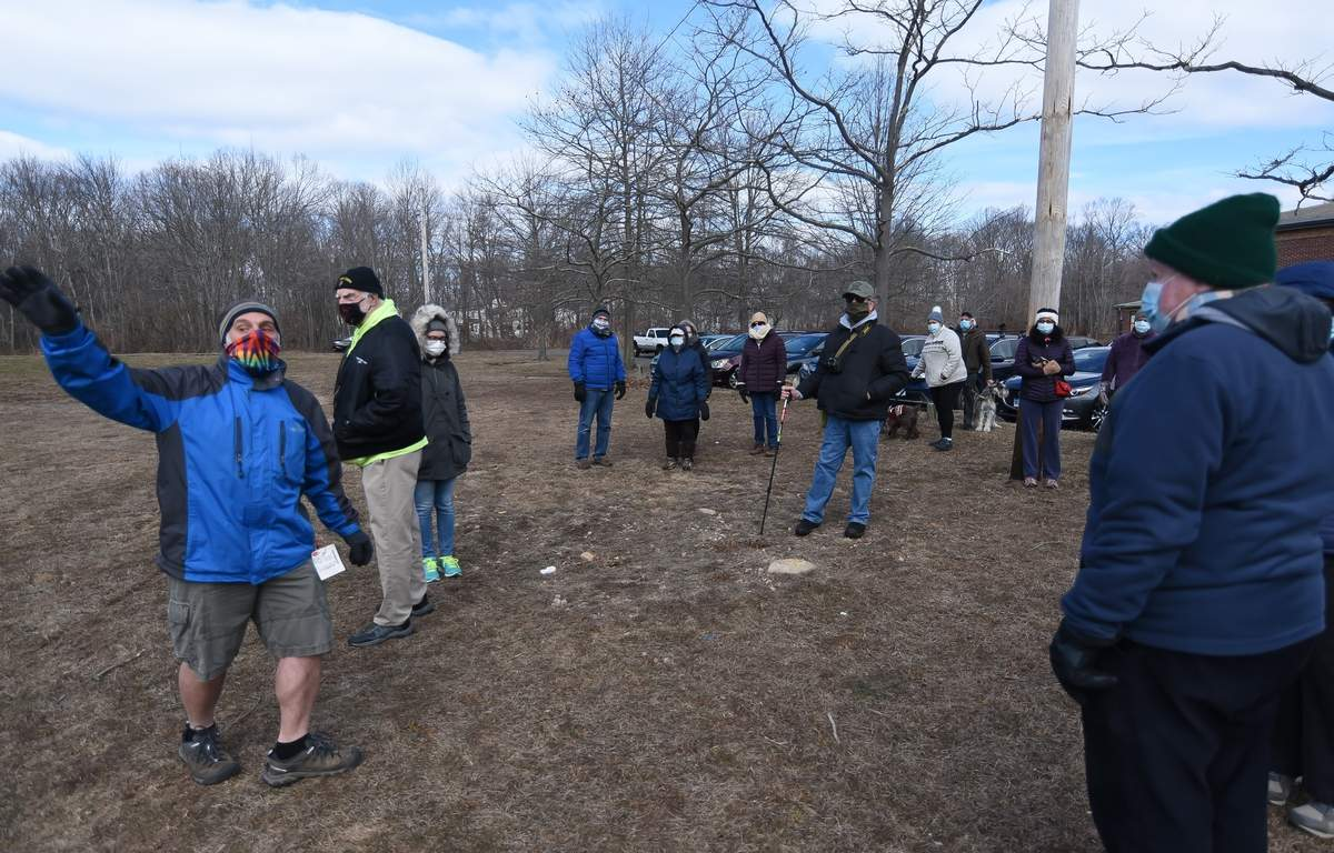 The Shoreline Greenway Trail hosted a walk in East Have along the Shoreline Greenway Train off Elliot St and down to the Farm River State Park. The hike was lead by Michael Gambardella who pointed out where the hike was going to start from.  Photo by Kelley Fryer/The Courier