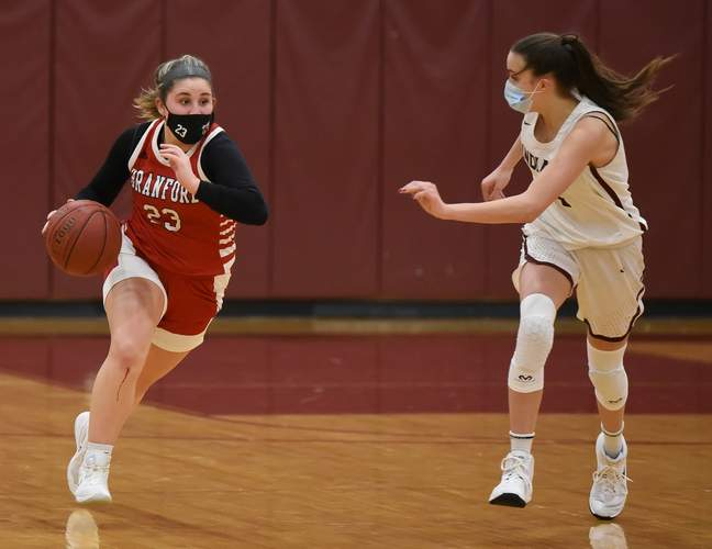 Senior captain Gabby Lucertini and Branford girls' hoops took a loss to Career last week, but came right back to get a victory against that same Panthers' team in their regular-season finale. File photo by Kelley Fryer/The Sound